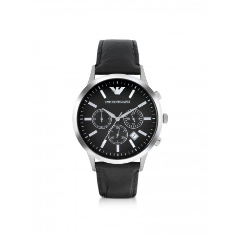 Emporio Armani Stainless Steel Chronograph Watch w/Embossed Leather Strap new 2014