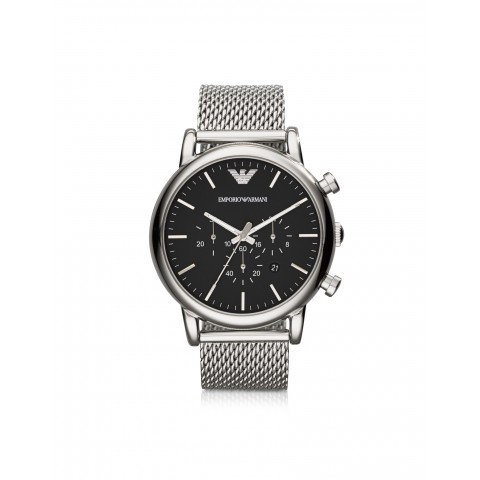 3d1f1bb8eaf664 Emporio Armani Classic Black Dial and Stainless Steel Men's Chronograph  Watch