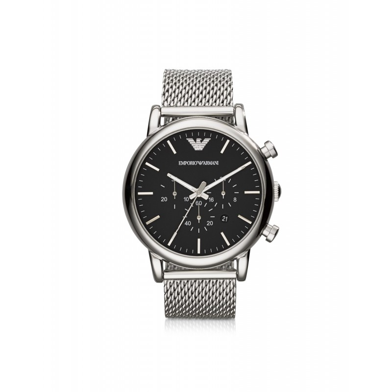 Emporio Armani Classic Black Dial and Stainless Steel Men s Chronograph  Watch 9173c8e241f53