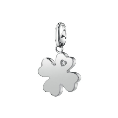 FOUR-LEAF CLOVER SALVINI SILVER PENDANT CHARMS OF LOVE WITH DIAMOND