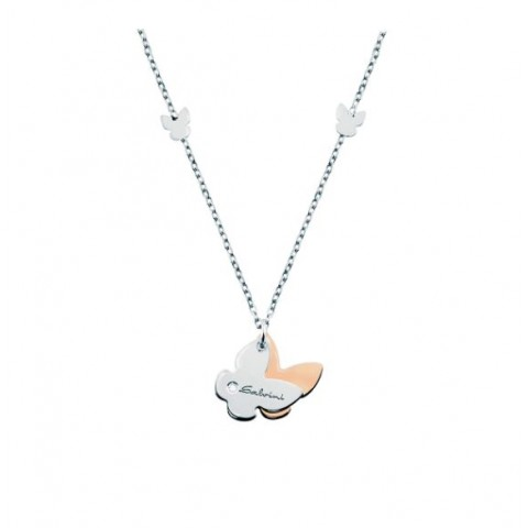 SALVINI WHITE AND ROSE GOLD NECKLACE MINIMAL POP WITH DIAMOND
