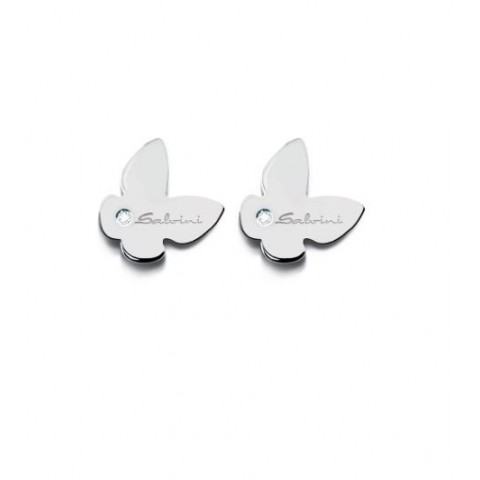 SALVINI WHITE GOLD EARRINGS MINIMAL POP WITH DIAMONDS