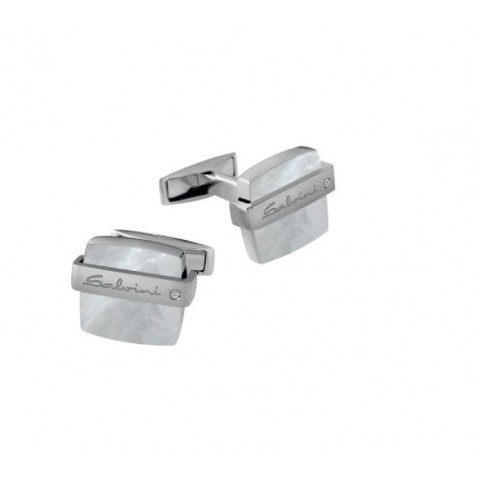 SALVINI SILVER CUFFLINKS JAZZ COLLECTION WITH DIAMOND AND MOTHER OF PEARL