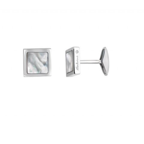 SALVINI SILVER CUFFLINKS JAZZ COLLECTION WITH DIAMONDS AND MOTHER OF PEARL