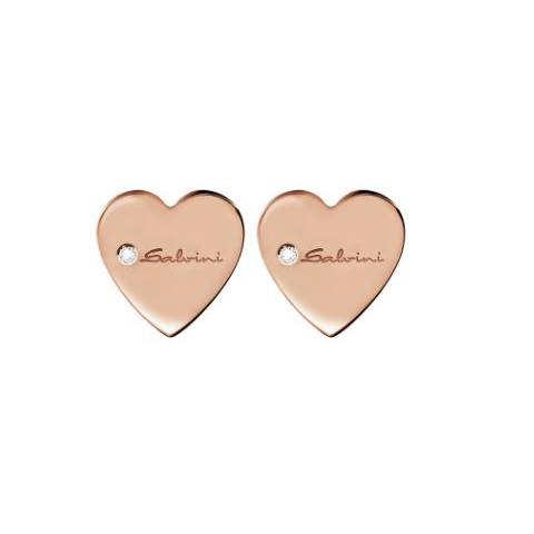 SALVINI ROSE GOLD EARRINGS MINIMAL POP WITH DIAMONDS