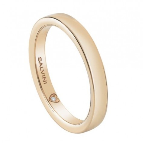 SALVINI YELLOW GOLD WEDDING RING BATTITO WITH DIAMOND