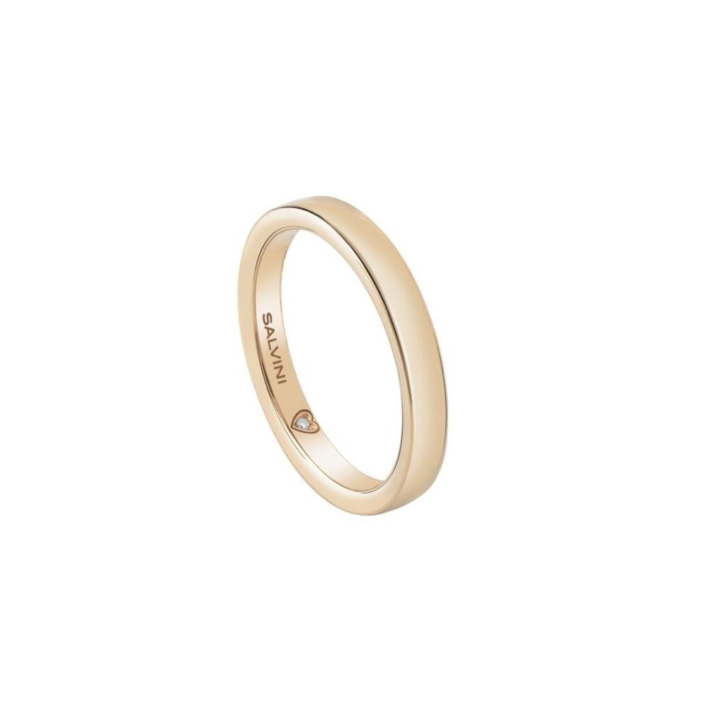 SALVINI WHITE GOLD WEDDING RING BATTITO WITH DIAMOND