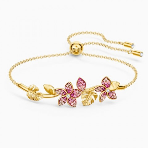 Bracciale rigido Tropical Flower, rosa, placcato color oro
